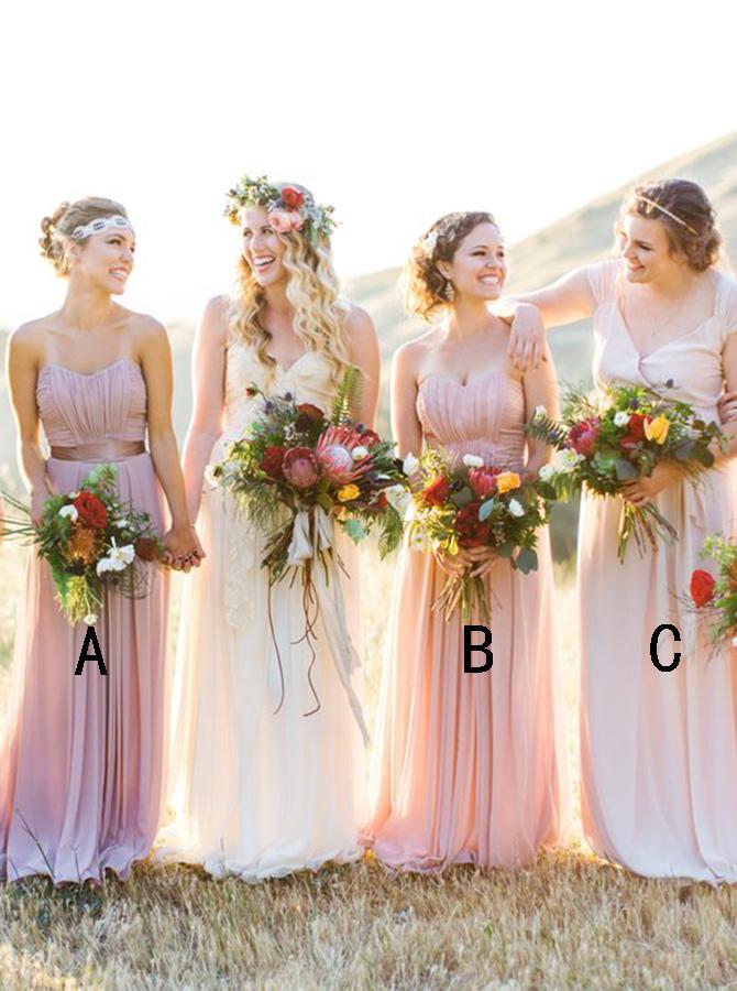 A-Line Sweetheart Floor-Length Sleeveless Pink Chiffon Bridesmaid Dress фото