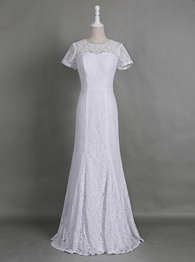 Dignified Jewel Short Sleeves Floor-Length White Sheath Lace Dress for Mother of Bride