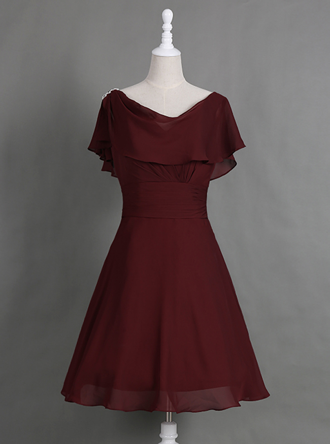 Intellectuality Cowl Neck Cap Sleeves Knee-Length Burgundy Mother of The Bride Dress with Pleats Ruffles