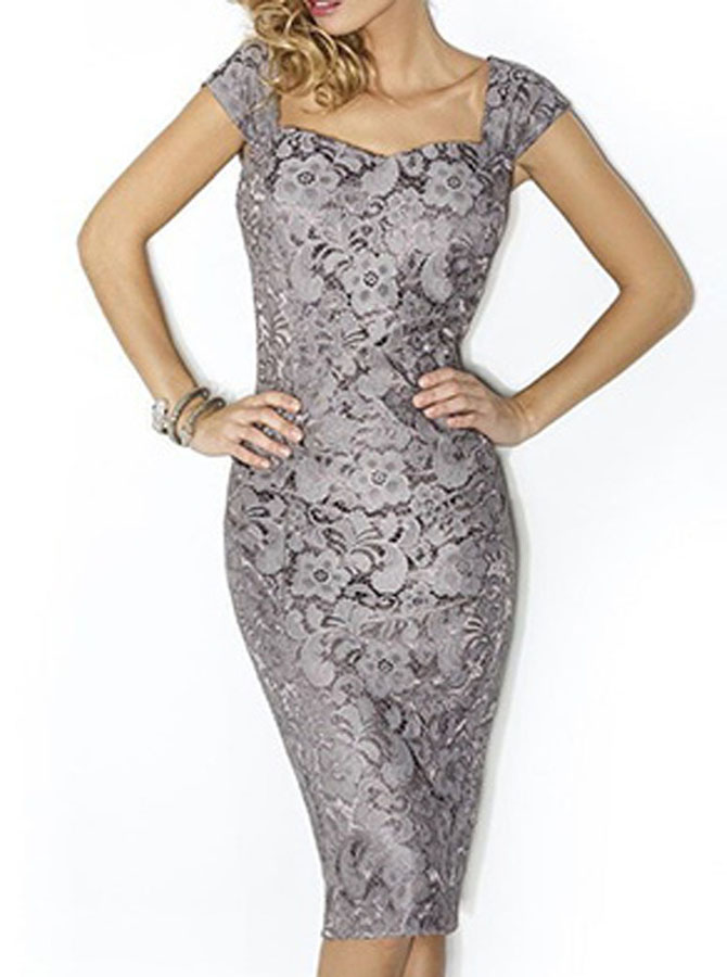 Elegant Square Sheath Knee-Length Grey Lace Mother of the Bride Dress with Coat