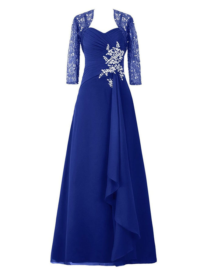 Dignified Sweetheart Royal Blue Mother of the Bride Dress with Beading Lace 3/4 Sleeves Shawl фото