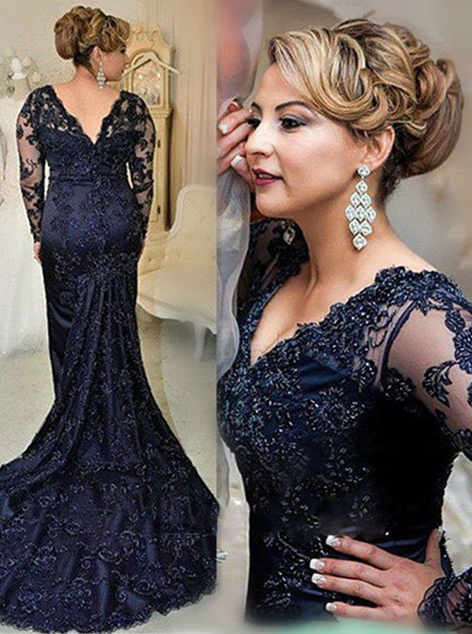 Stunning V-neck Long Sleeves Sweep Train Navy Blue Lace Mother of the Bride Dress with Beading фото