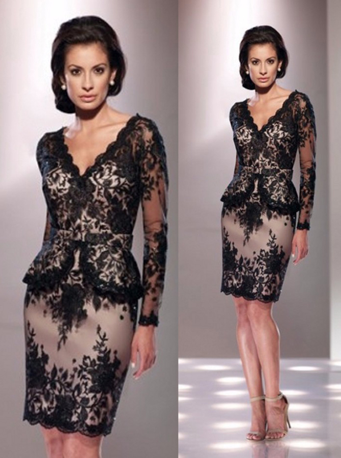 High Quality V-neck Long Sleeves Short Sheath Black Lace Mother of the Bride Dress with Sash фото