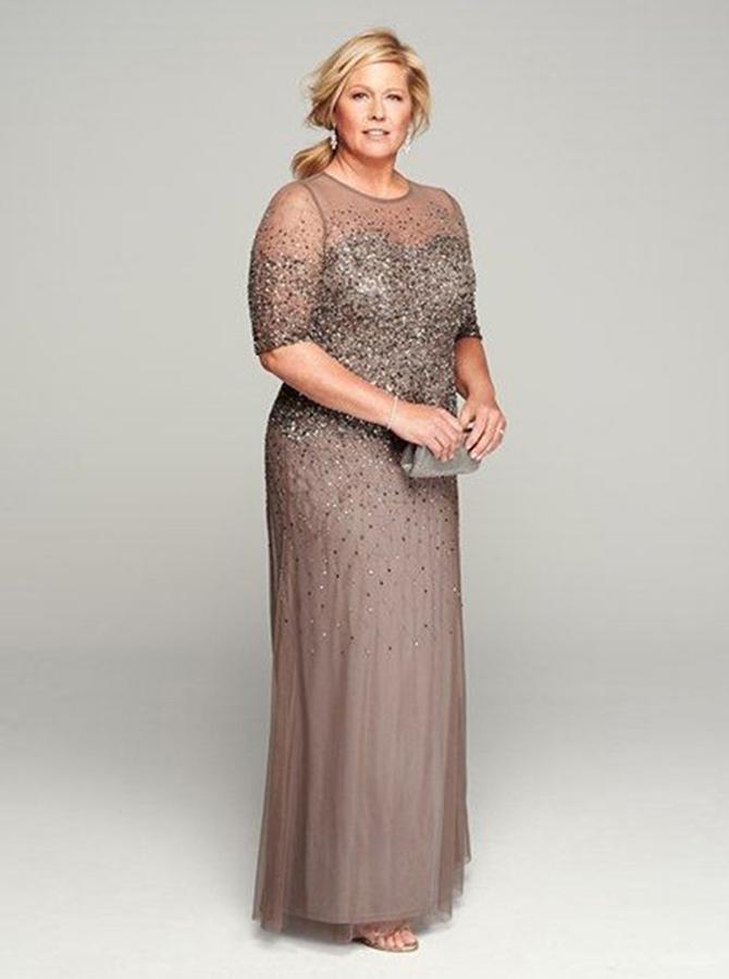 Elegnat Jewel Half Sleeves Floor-Length Grey Mother of the Bride Dress with Beading