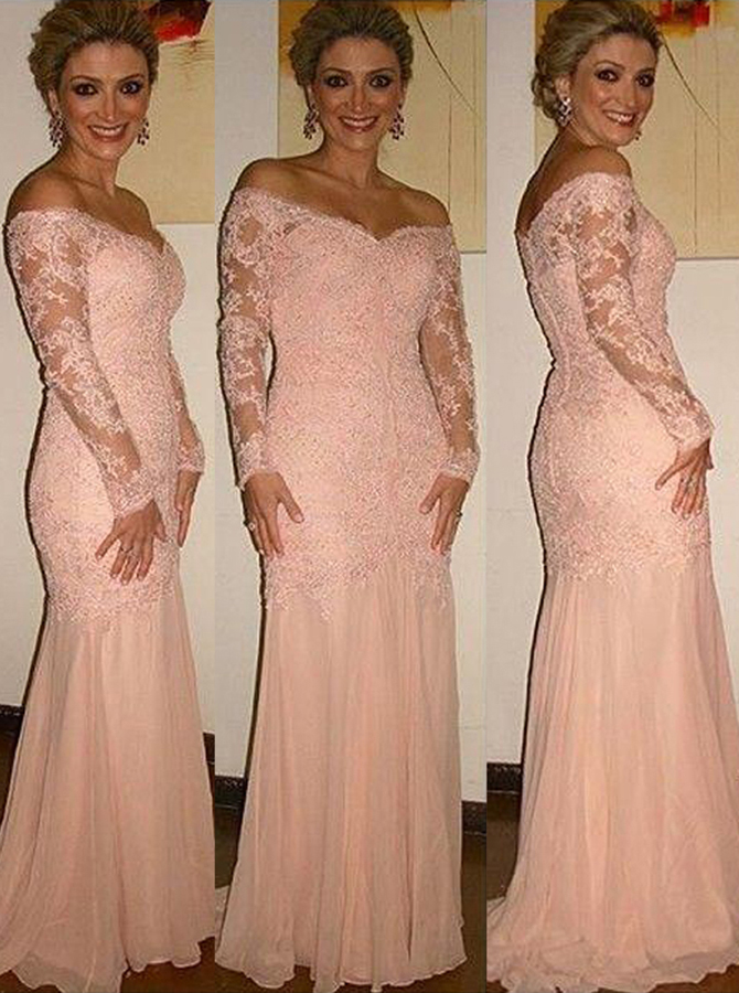 Glamorous Off Shoulder Long Sleeves Sweep Train Pink Mother of the Bride Dress with Lace Top фото