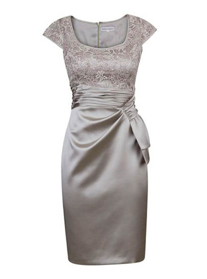 Decent Square Neck Cap Sleeves Short Silver Mother of Bride Dress with Lace Ruched