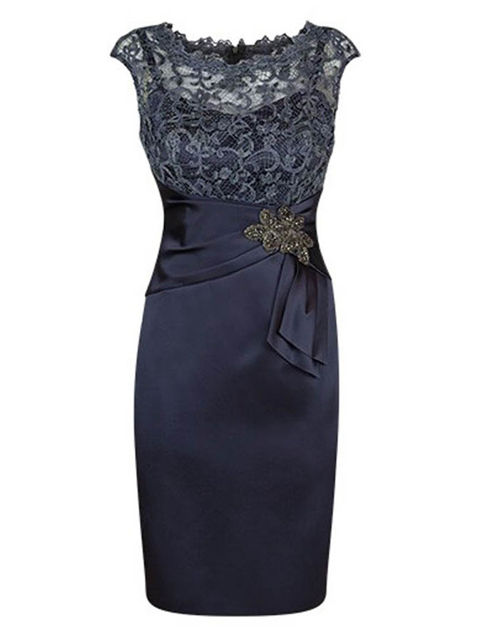 Honorable Scalloped-Edge Short Sheath Navy Mother of Bride Dress with Lace Beading