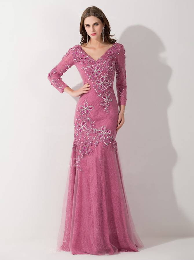 Delicate V-neck 3/4 Sleeves Mermaid Mother of Bride Dress with Appliques Beading