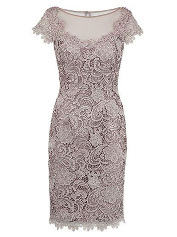 Sheath Bateau Cap Sleeves Short Champagne Lace Mother of The Bride Dress