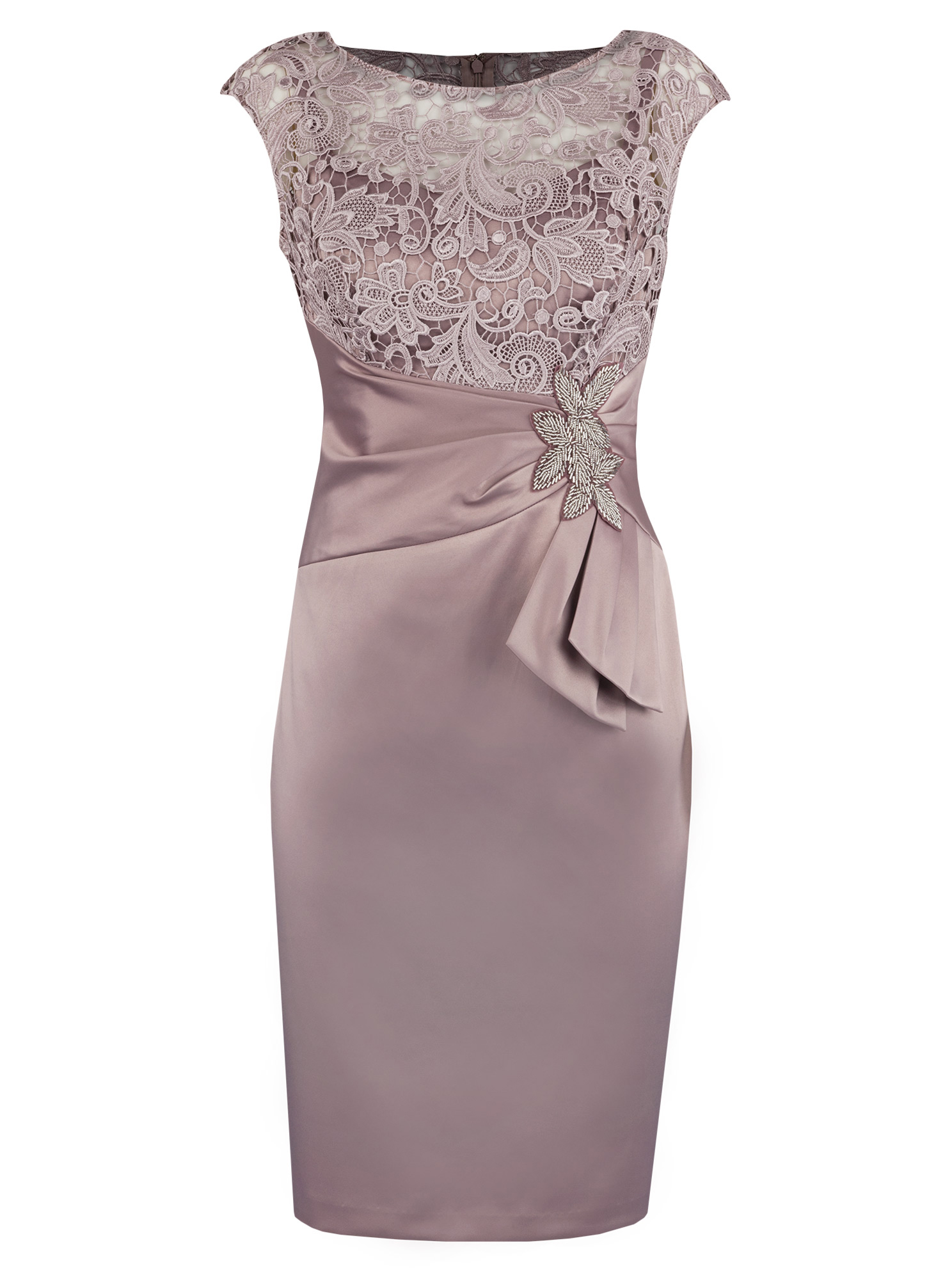 Sheath Bateau Short Champagne Satin Mother of The Bride Dress with Lace Beading