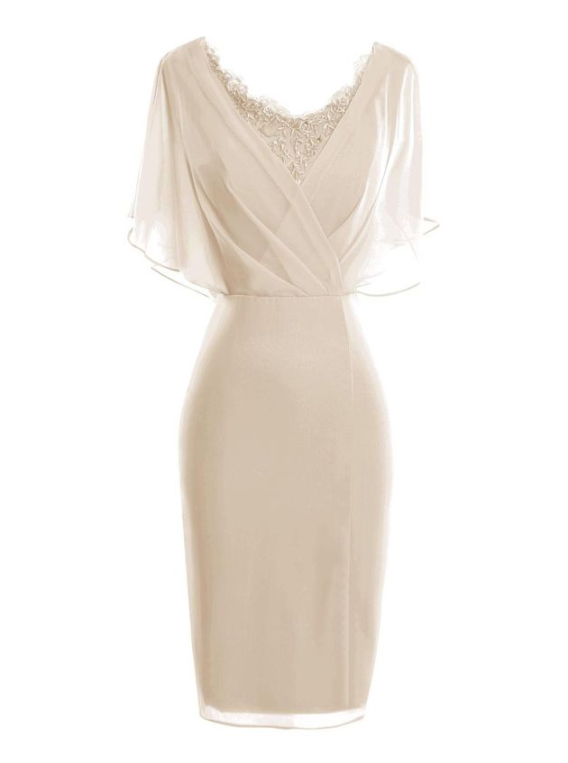 Bodycon Scoop Short Light Champagne Chiffon Mother of The Bride Dress with Lace фото