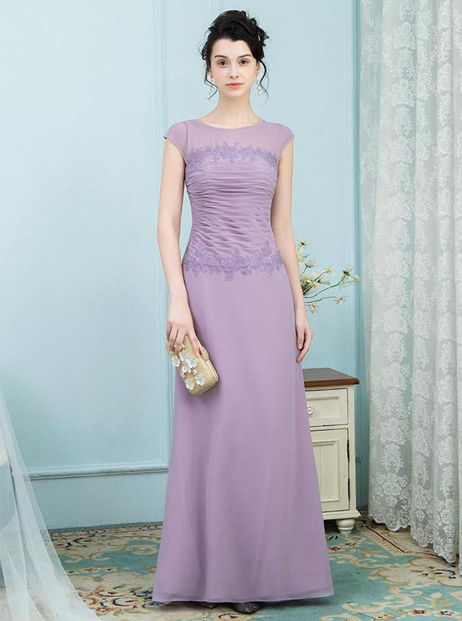 A-Line Bateau Ruched Lavender Mother of the Bride Dress with Appliques фото