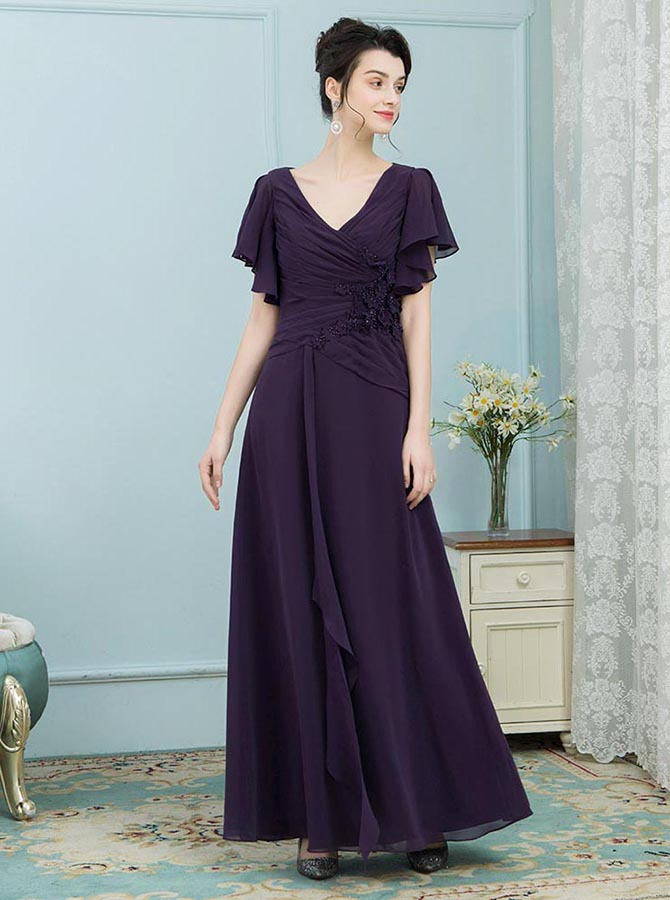 A-Line V-Neck Grape Ruched Chiffon Mother of the Bride Dress with Ruffles фото