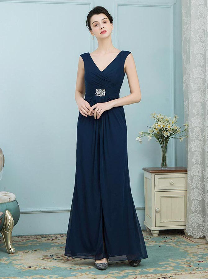 A-Line V-Neck Navy Blue Chiffon Mother of the Bridle Dress with Beading