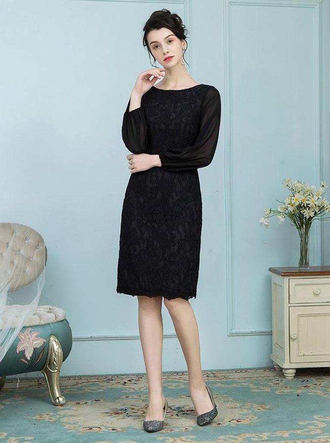 Sheath Bateau Knee Length Black Lace Mother of the Bride Dress фото