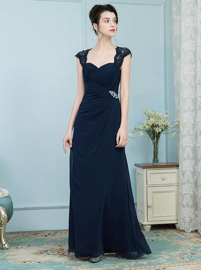 A-Line Square Neck Navy Blue Mother of the Bride Dress with Lace Beading