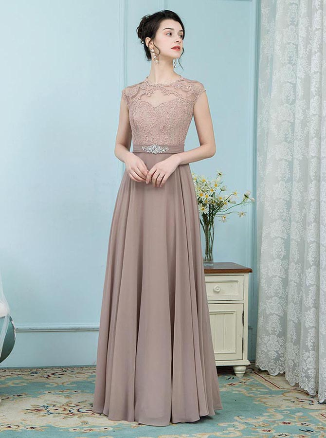 A-Line Round Neck Blush Chiffon Mother of the Bride Dress with Lace Beading