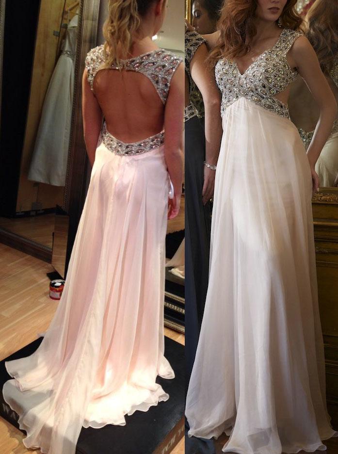 Elegant V-neck Court Train Empire Chiffon Open Back Pink Prom/Evening Dress фото