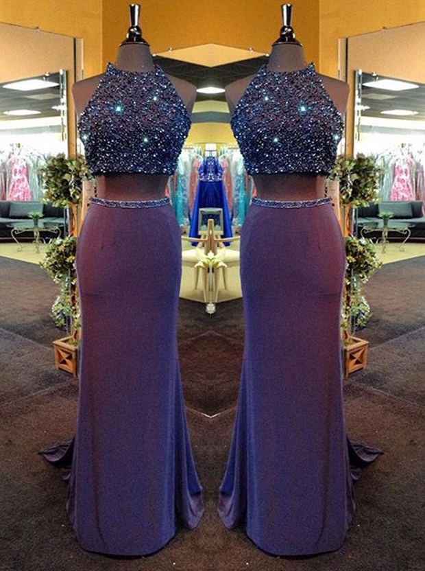 Two Piece Jewel Sweep Train Split-Side Open Back Grape Chiffon Prom Dress with Beading