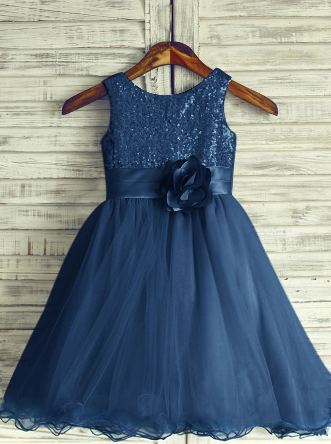 Simple-dress / A-Line Round Neck Navy Blue Tulle Flower Girl Dress with Flower