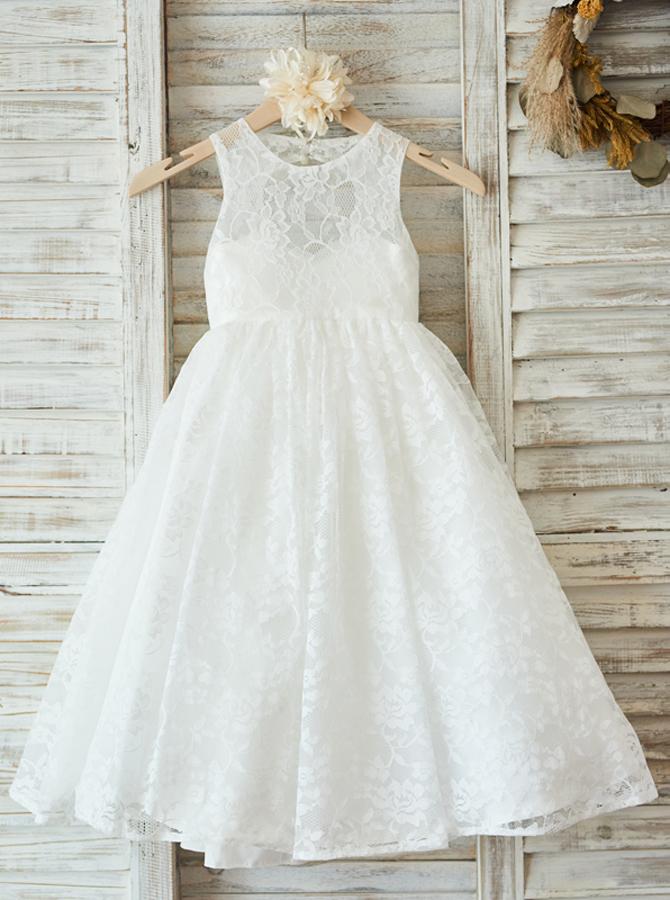 Simple-dress / A-Line Jewel Open Back White Lace Flower Girl Dress