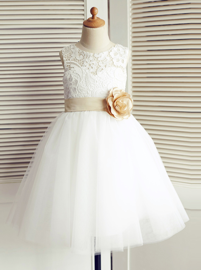 Simple-dress / A-Line Jewel White Flower Girl Dress with Flower Bow
