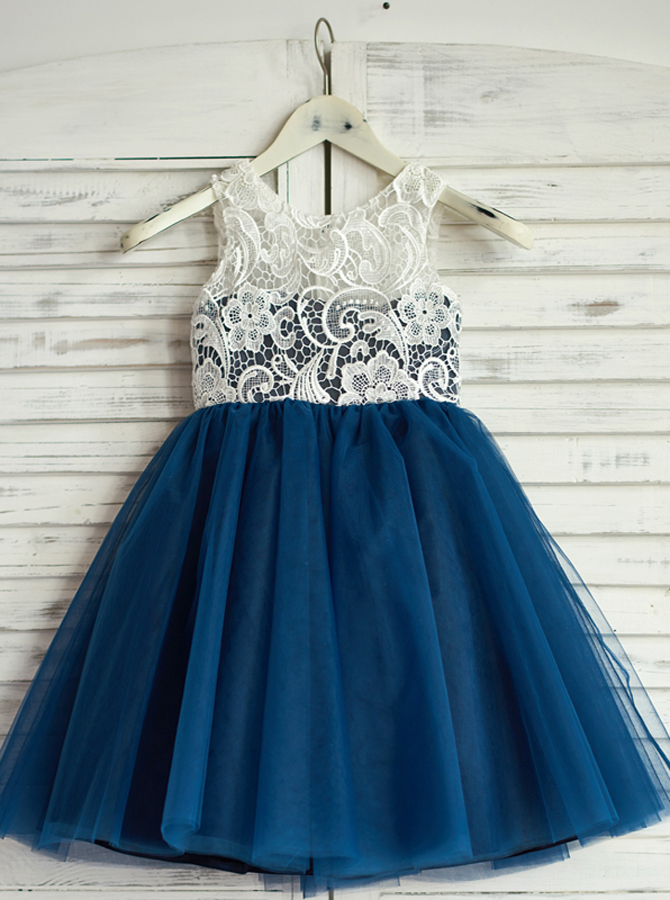 A-Line Jewel Navy Blue Flower Girl Dress with Lace фото