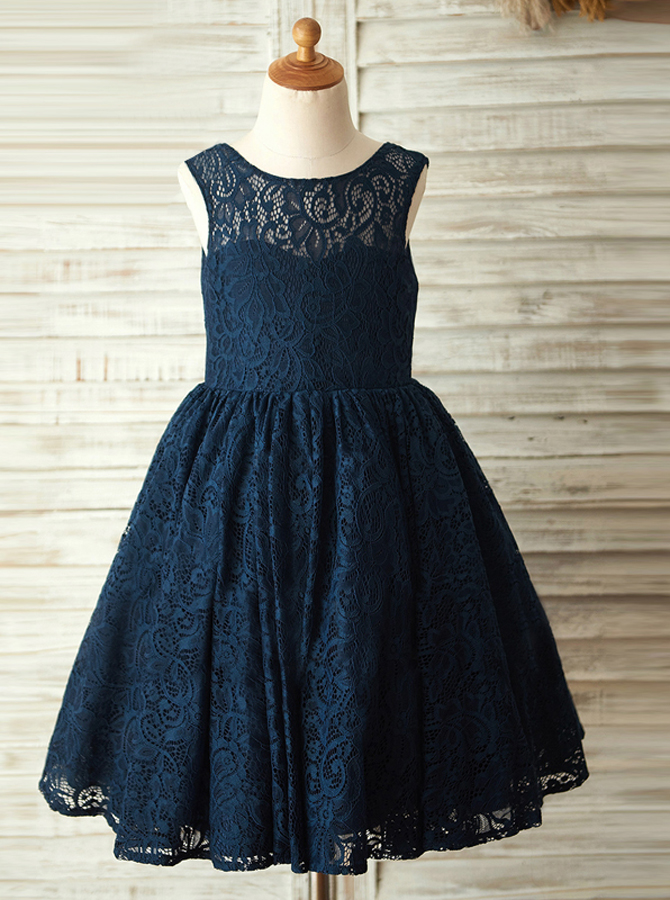 A-Line Crew Neck Navy Blue Lace Flower Girl Dress фото