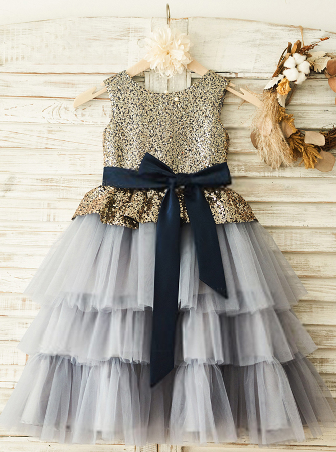 A-Line Round Neck Grey Flower Girl Dress with Sequins фото