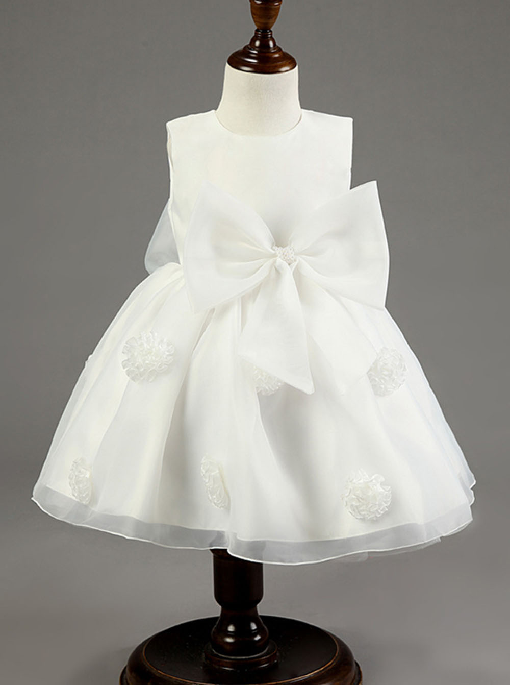 Simple Jewel Sleeveless Short White Organza Flower Girl Dress with Bowknot Handmade Flowers thumbnail