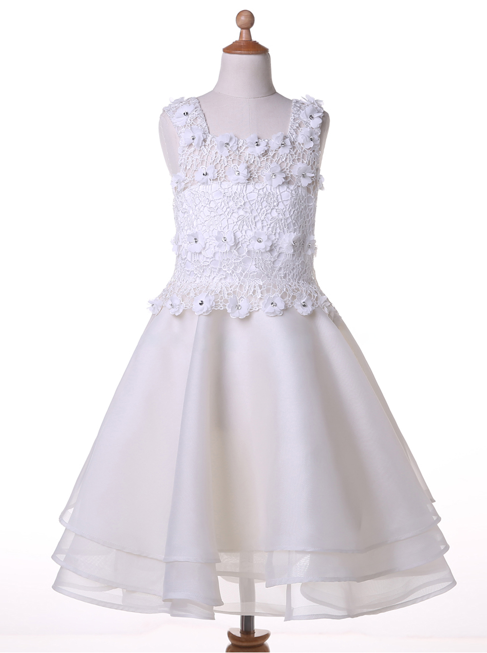 A-line Square Sleeveless Knee-Length White Chiffon Flower Girl Dress with Beading Lace фото