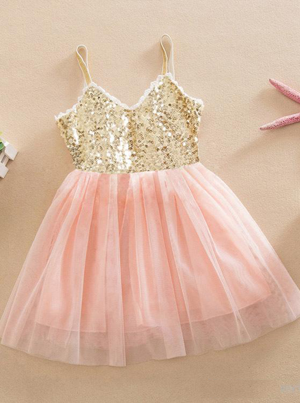 Cute V-neck Spaghetti Straps Pink Sequined Flower Girl Dress фото