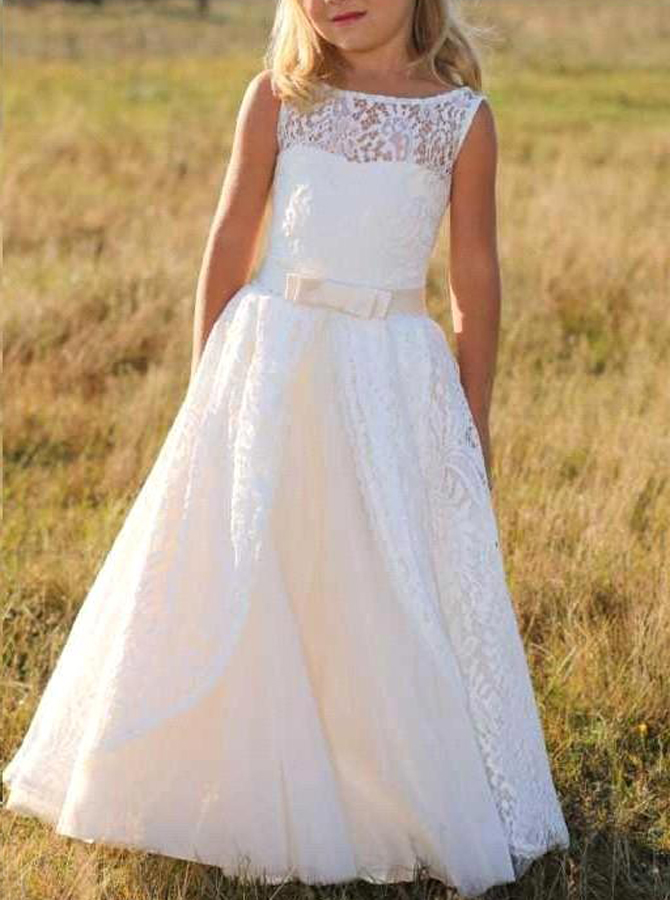 Stunning Bateau Sleeveless Floor-Length Lace Flower Girl Dress with Bowknot thumbnail