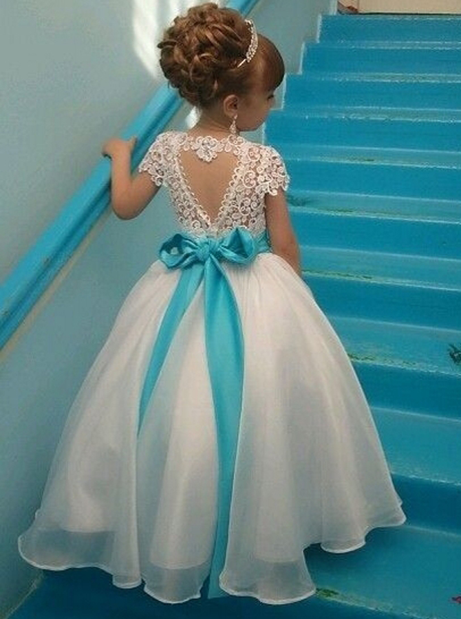 Ball Gown Jewel Cap Sleeves White Organza Flower Girl Dress with Lace Beading thumbnail