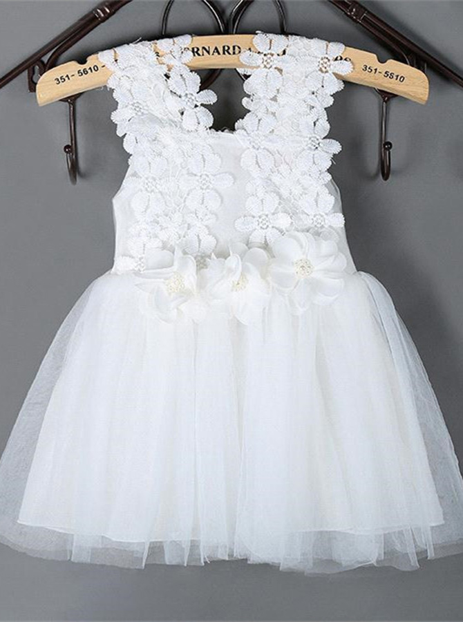 Cute Square Sleeveless Short White/Pink Flower Girl Dress with Lace Handmade Flowers thumbnail