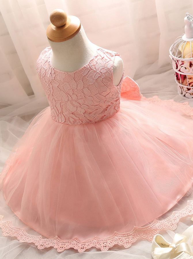 Cute Jewel Sleeveless Short Pink Lace Flower Girl Dress with Bowknot фото