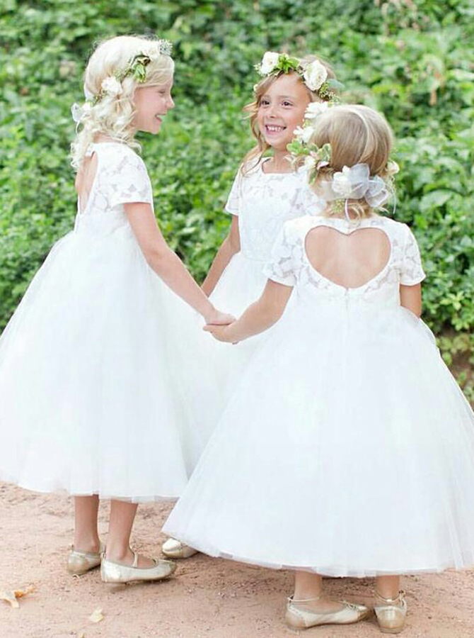 Simple-dress / Ball Gown Jewel Short Sleeves Open Back Tulle Flower Girl Dress with Lace