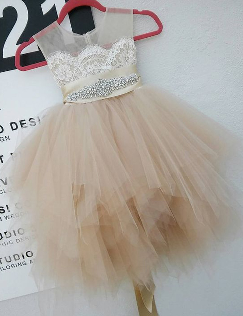 Cute Round Neck Sleeveless Short Champagne Flower Girl Dress with Lace Beading Pleats