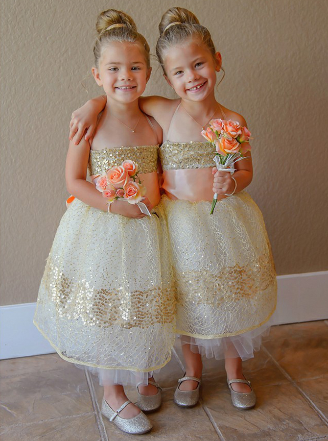Simple-dress / Ball Gown Spaghetti Straps Light Champagne Lace Flower Girl Dress with Sequins