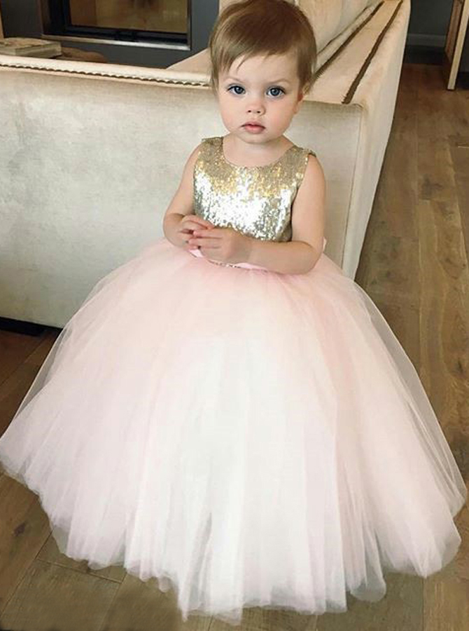 Simple-dress / Ball Gown Bateau Pink Tulle Flower Girl Dress with Sequins Bowknot