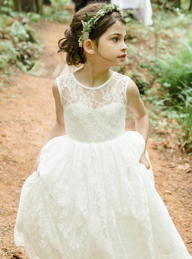 Simple-dress / A-Line Jewel Backless Tea-Length White Lace Flower Girl Dress