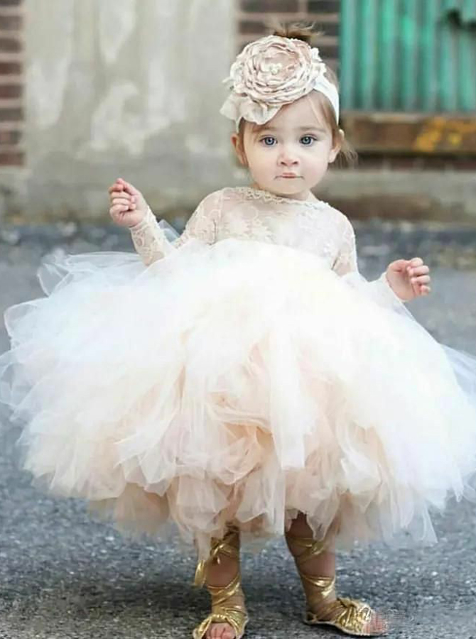 Ball Gown Bateau Long Sleeves Short Tulle Flower Girl Dress with Lace фото