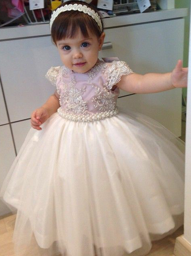 Simple-dress / Ball Gown Round Neck Cap Sleeves Light Pink Tulle Flower Girl Dress with Pearls