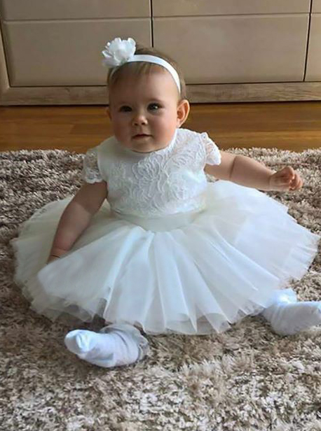Simple-dress / A-Line Round Neck Short White Tulle Flower Girl Dress with Lace
