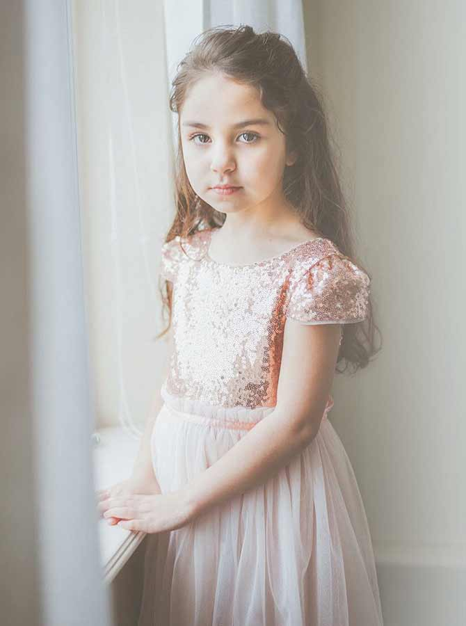 Simple-dress / A-Line Round Neck Pink Tulle Flower Girl Dress with Sequins
