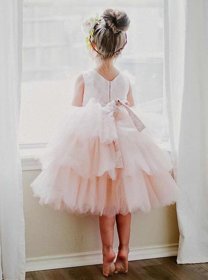 A-Line Round Neck Tired Pink Tulle Flower Girl Dress with Lace фото