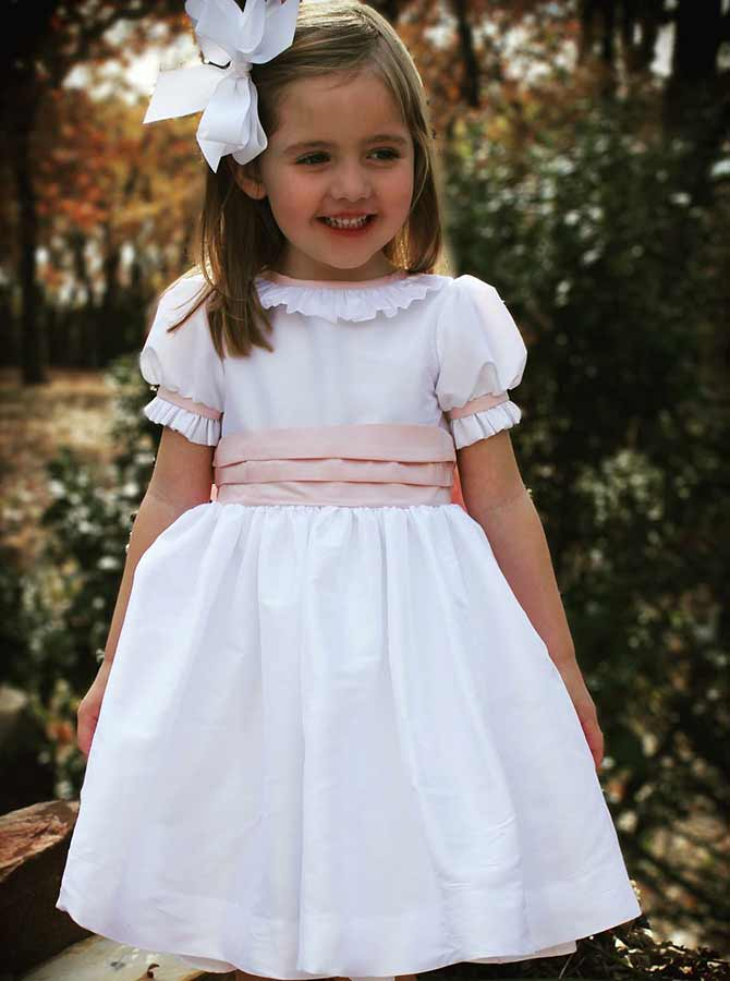 A-Line Round Neck White Elastic Satin Flower Girl Dress with Ruffles фото