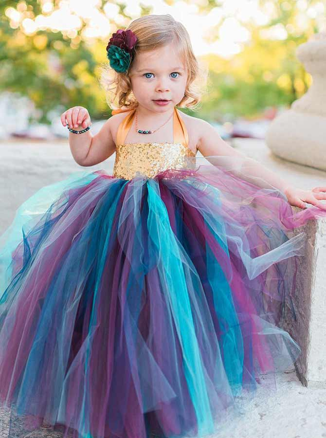 Ball Gown Halter Multi Color Tulle Flower Girl Dress with Sequins фото