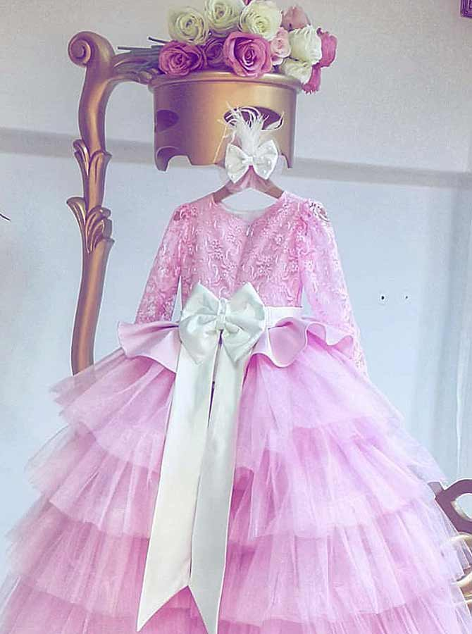 A-Line Round Neck Tired Pink Tulle Flower Girl Dress with Lace Bowknot фото