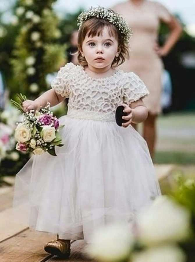 A-Line Round Neck Short Sleeves White Tulle Flower Girl Dress with Beading фото